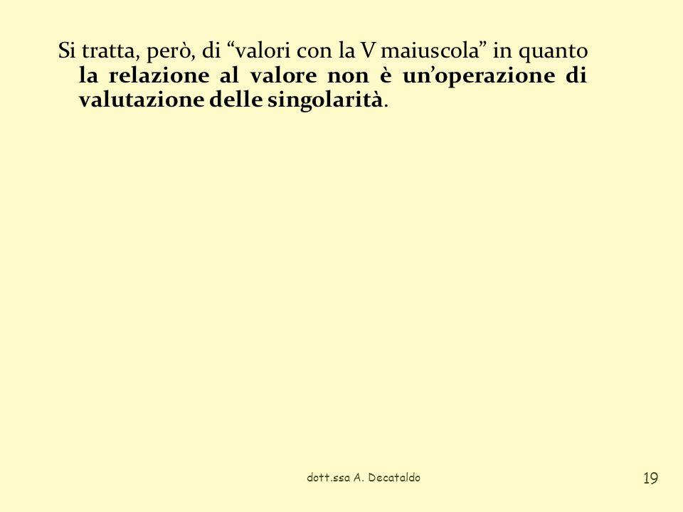Si tratta, però, di valori con la V maiuscola in quanto la relazione al valore non è un'operazione di valutazione delle singolarità.