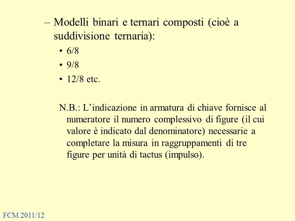 Modelli binari e ternari composti (cioè a suddivisione ternaria):