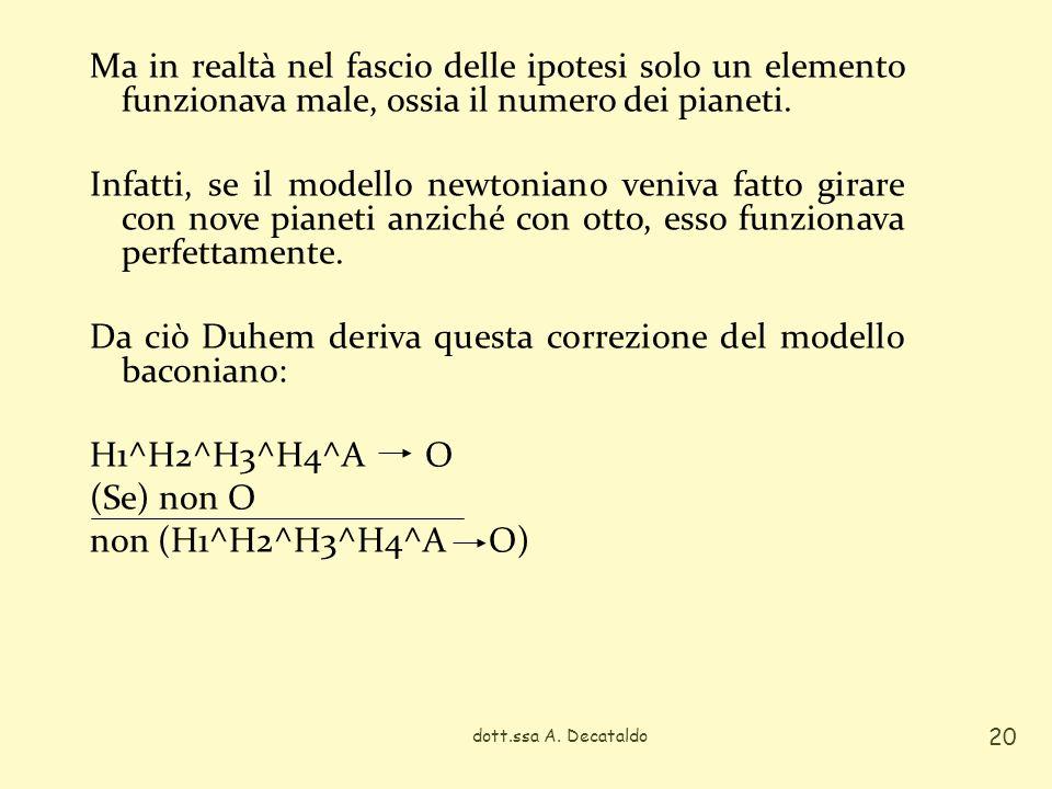 Ma in realtà nel fascio delle ipotesi solo un elemento funzionava male, ossia il numero dei pianeti. Infatti, se il modello newtoniano veniva fatto girare con nove pianeti anziché con otto, esso funzionava perfettamente. Da ciò Duhem deriva questa correzione del modello baconiano: H1^H2^H3^H4^A O (Se) non O non (H1^H2^H3^H4^A O)