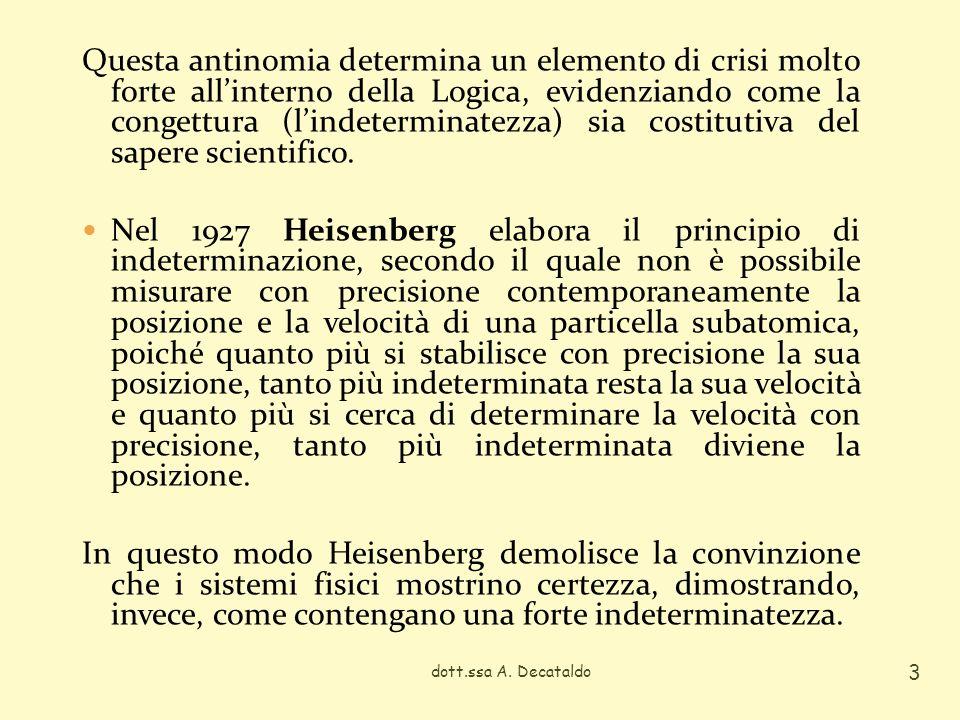 Questa antinomia determina un elemento di crisi molto forte all'interno della Logica, evidenziando come la congettura (l'indeterminatezza) sia costitutiva del sapere scientifico.