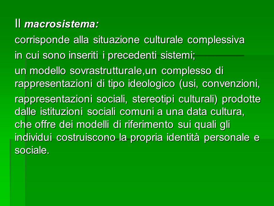 Il macrosistema: corrisponde alla situazione culturale complessiva