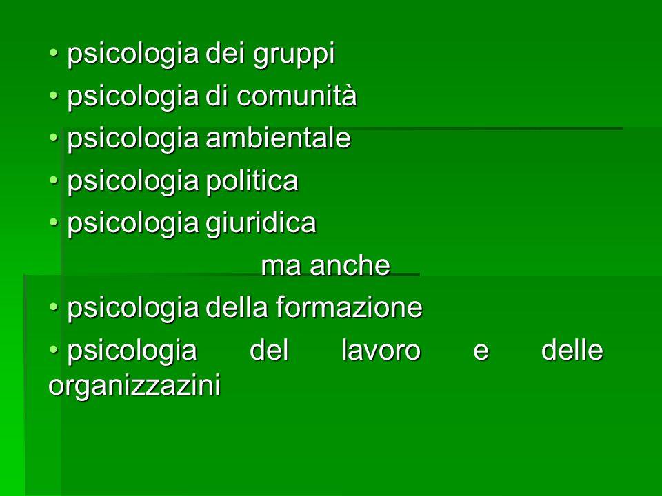 psicologia dei gruppi psicologia di comunità. psicologia ambientale. psicologia politica. psicologia giuridica.