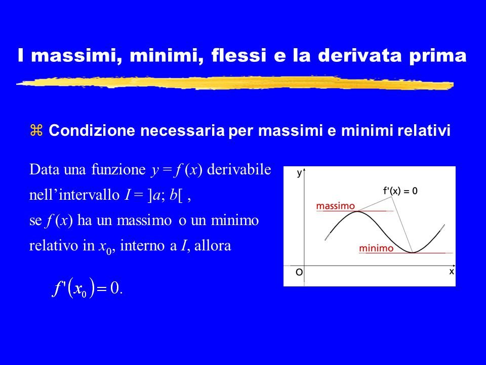 I massimi, minimi, flessi e la derivata prima