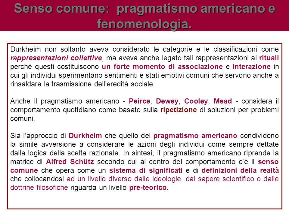 Senso comune: pragmatismo americano e fenomenologia.