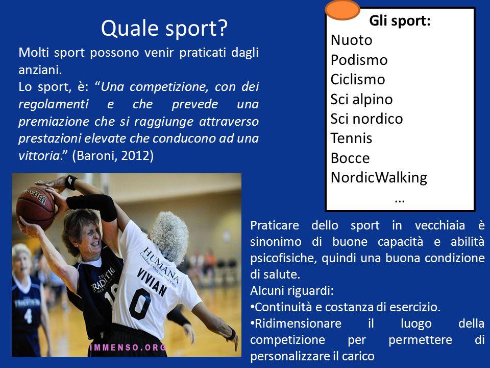 Quale sport Gli sport: Nuoto Podismo Ciclismo Sci alpino Sci nordico