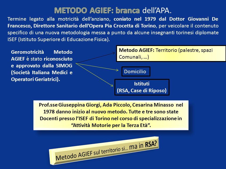 METODO AGIEF: branca dell'APA.
