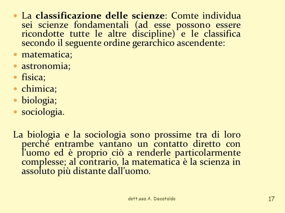 La classificazione delle scienze: Comte individua sei scienze fondamentali (ad esse possono essere ricondotte tutte le altre discipline) e le classifica secondo il seguente ordine gerarchico ascendente: