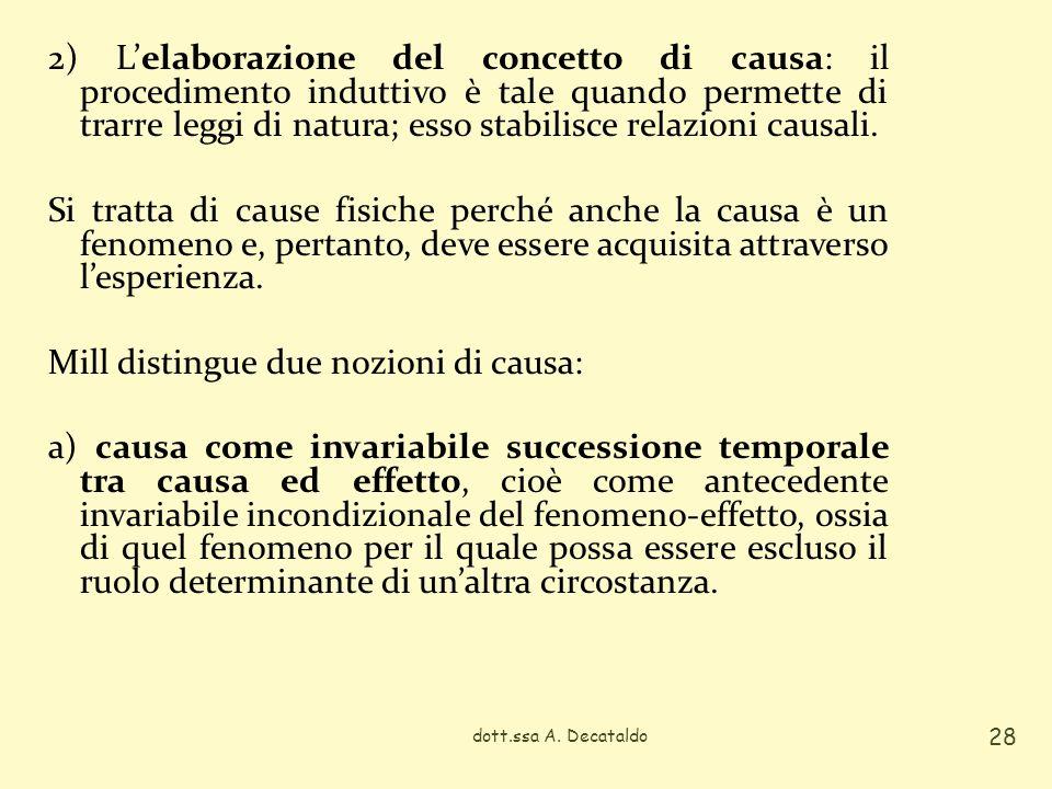 2) L'elaborazione del concetto di causa: il procedimento induttivo è tale quando permette di trarre leggi di natura; esso stabilisce relazioni causali. Si tratta di cause fisiche perché anche la causa è un fenomeno e, pertanto, deve essere acquisita attraverso l'esperienza. Mill distingue due nozioni di causa: a) causa come invariabile successione temporale tra causa ed effetto, cioè come antecedente invariabile incondizionale del fenomeno-effetto, ossia di quel fenomeno per il quale possa essere escluso il ruolo determinante di un'altra circostanza.