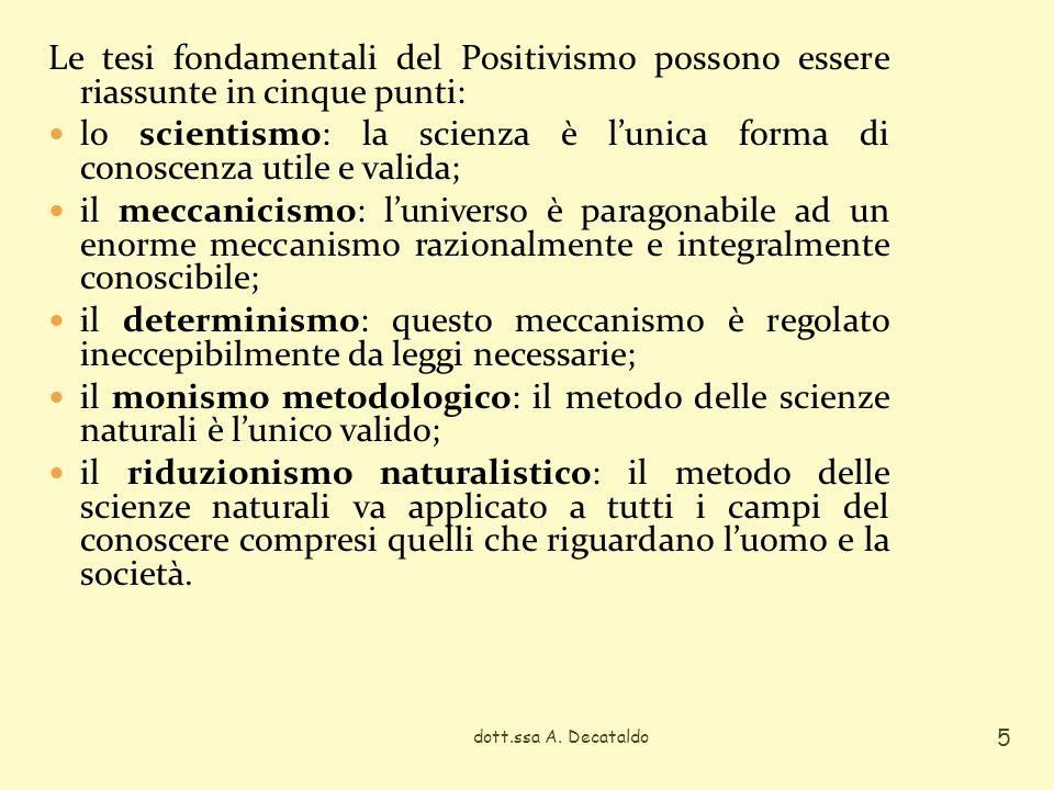 Le tesi fondamentali del Positivismo possono essere riassunte in cinque punti: