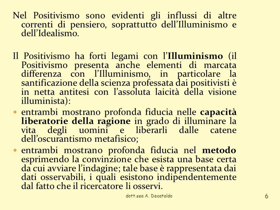 Nel Positivismo sono evidenti gli influssi di altre correnti di pensiero, soprattutto dell'Illuminismo e dell'Idealismo.
