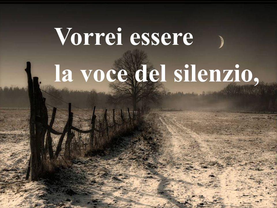 Vorrei essere la voce del silenzio,