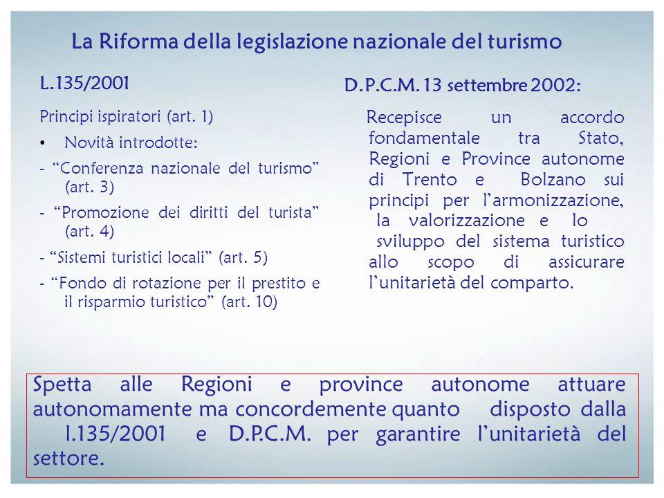 La Riforma della legislazione nazionale del turismo