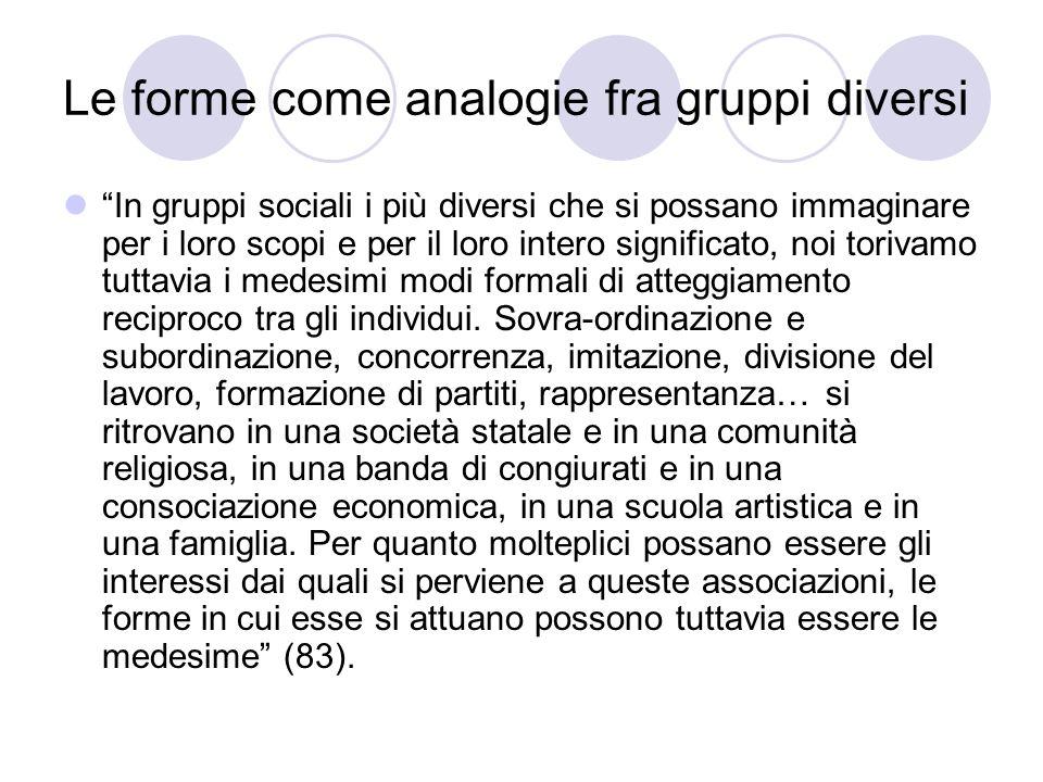 Le forme come analogie fra gruppi diversi