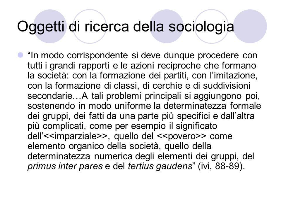 Oggetti di ricerca della sociologia