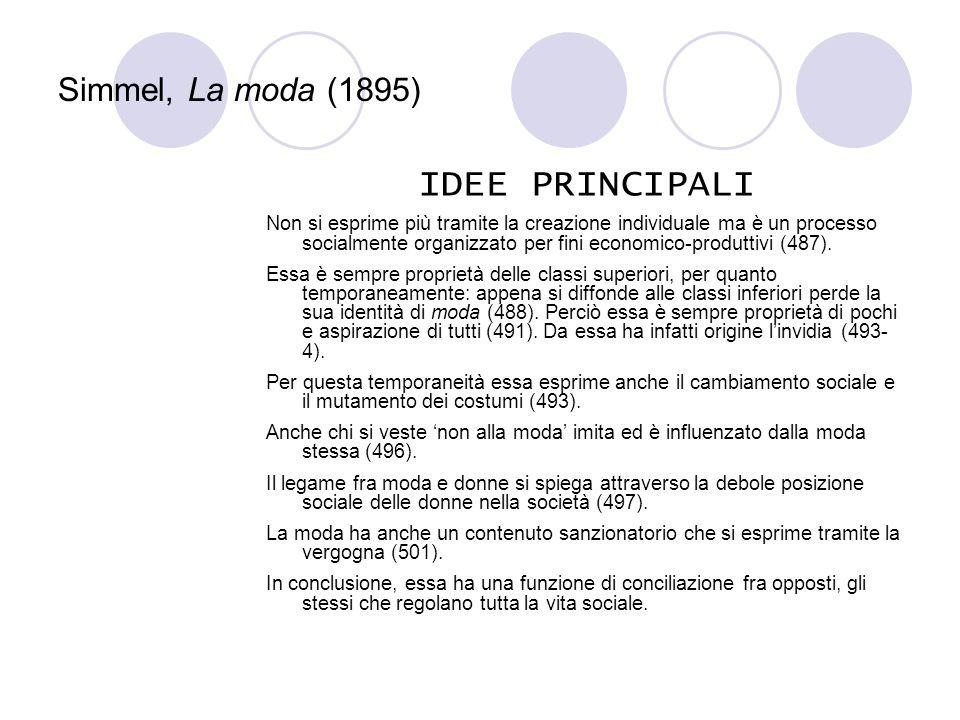 IDEE PRINCIPALI Simmel, La moda (1895)
