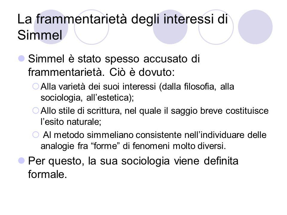 La frammentarietà degli interessi di Simmel