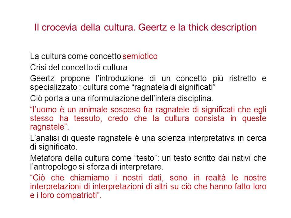 Il crocevia della cultura. Geertz e la thick description