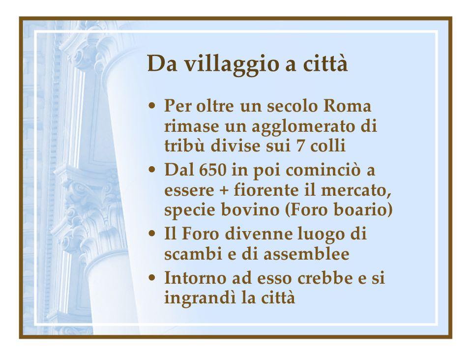 Da villaggio a città Per oltre un secolo Roma rimase un agglomerato di tribù divise sui 7 colli.