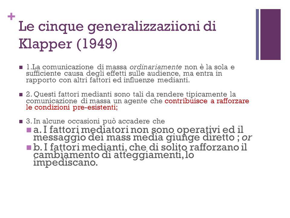Le cinque generalizzaziioni di Klapper (1949)