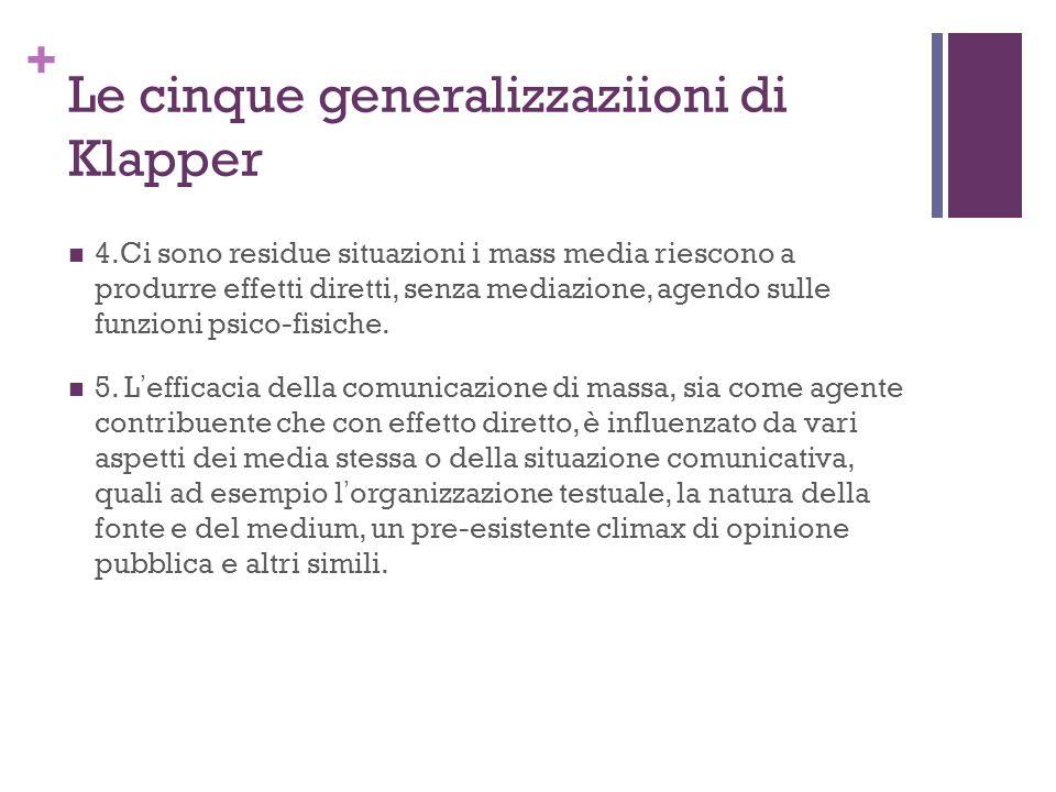 Le cinque generalizzaziioni di Klapper
