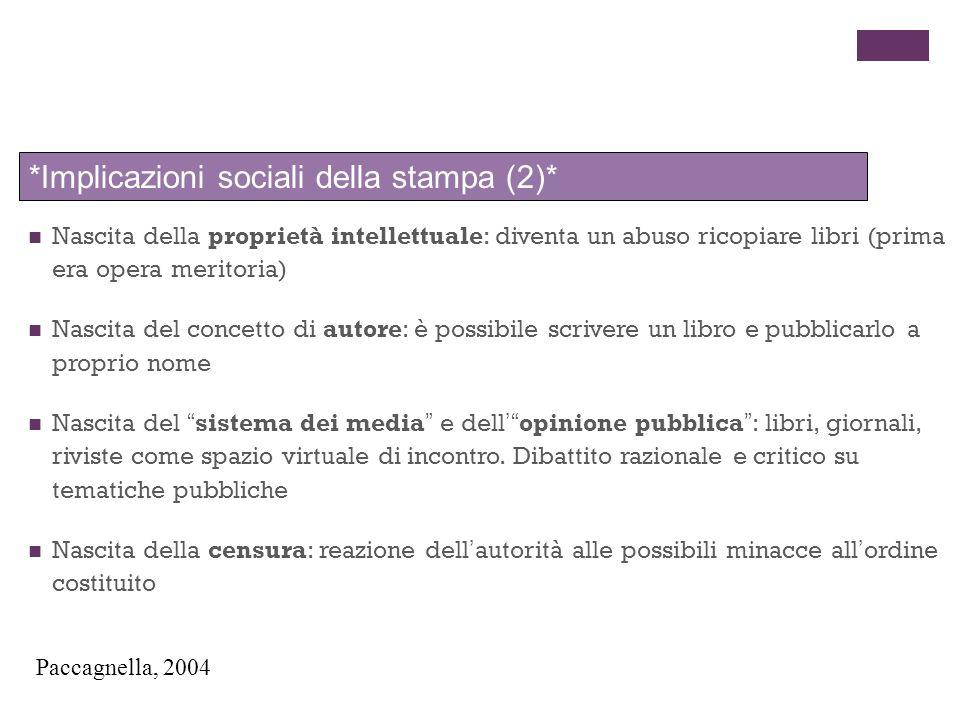 *Implicazioni sociali della stampa (2)*