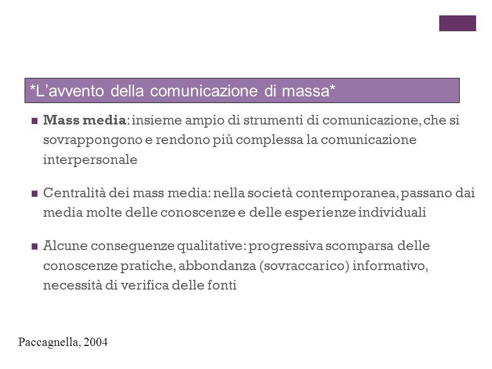 *L'avvento della comunicazione di massa*