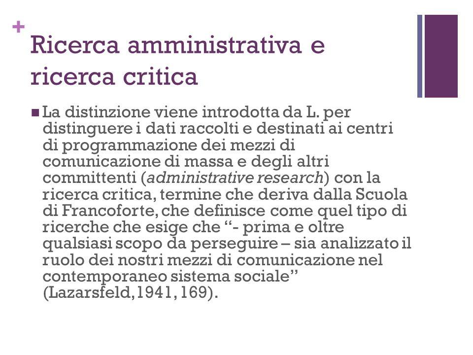Ricerca amministrativa e ricerca critica