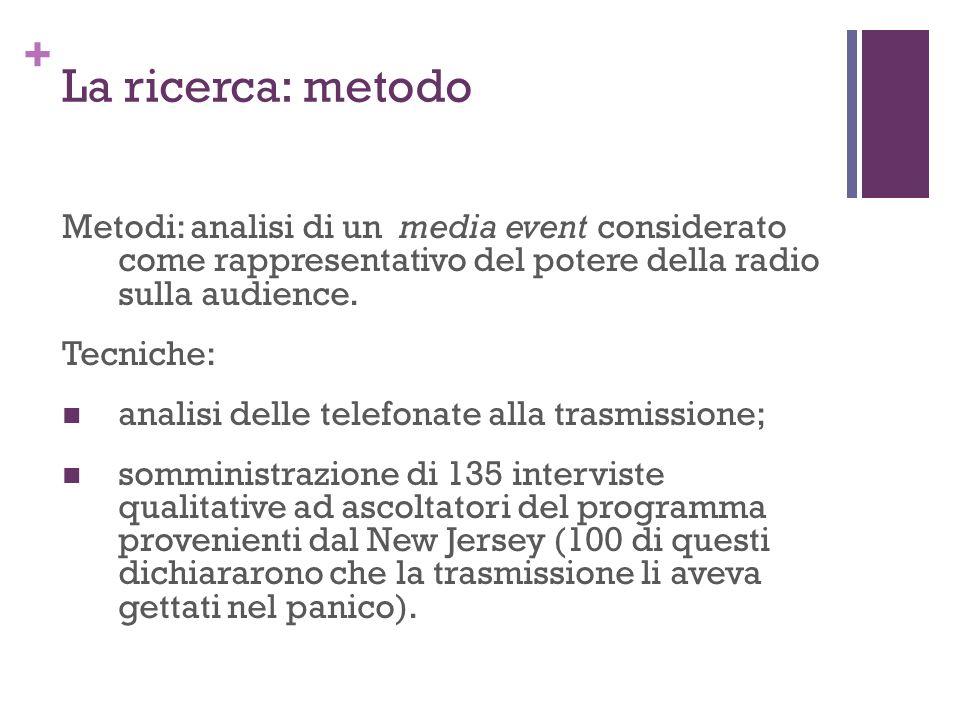 La ricerca: metodo Metodi: analisi di un media event considerato come rappresentativo del potere della radio sulla audience.