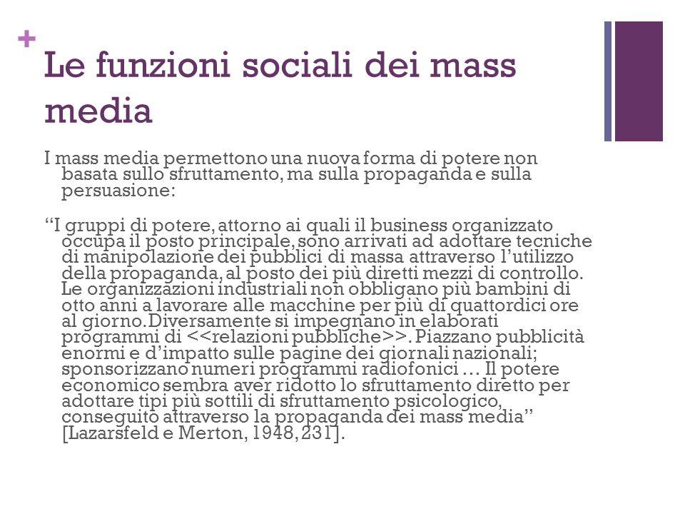 Le funzioni sociali dei mass media