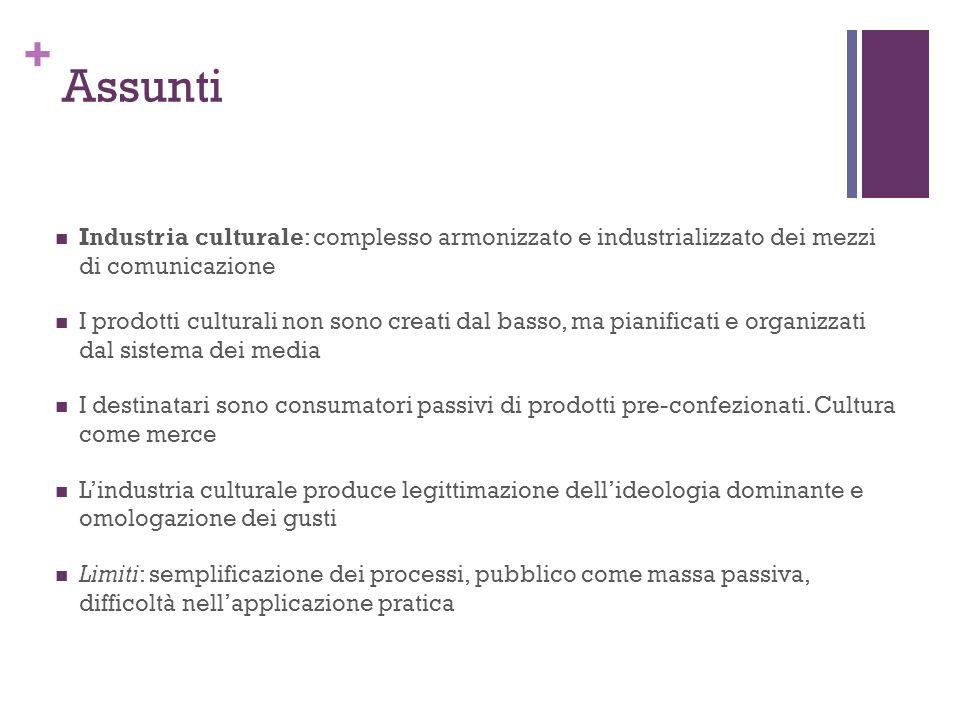 Assunti Industria culturale: complesso armonizzato e industrializzato dei mezzi di comunicazione.