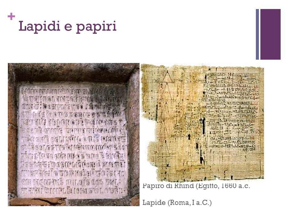 Lapidi e papiri Papiro di Rhind (Egitto, 1660 a.c.