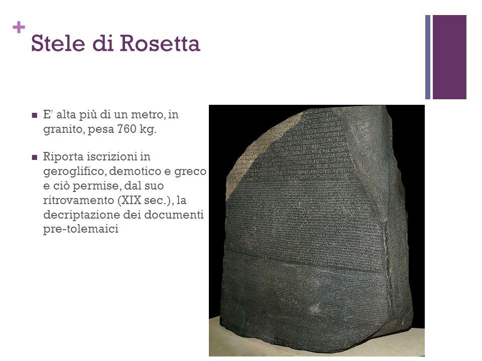 Stele di Rosetta E' alta più di un metro, in granito, pesa 760 kg.