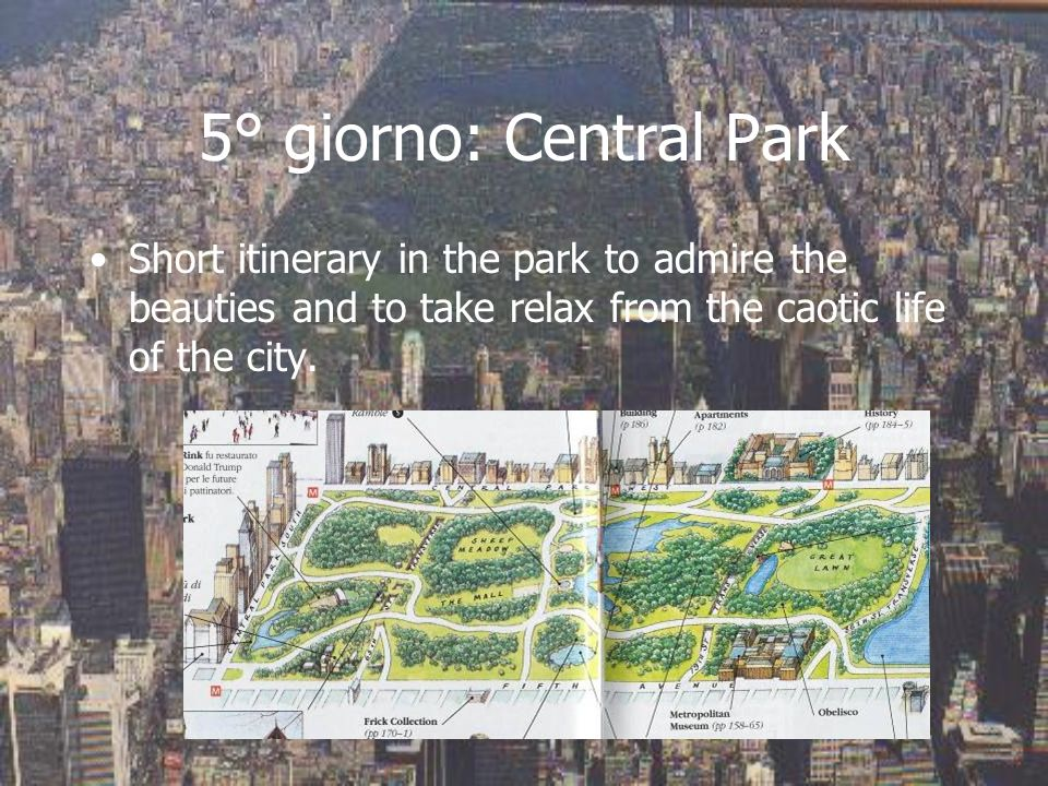 5° giorno: Central ParkShort itinerary in the park to admire the beauties and to take relax from the caotic life of the city.