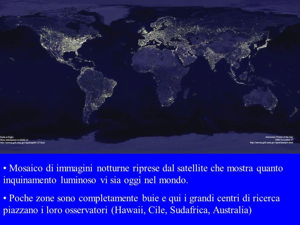 Mosaico di immagini notturne riprese dal satellite che mostra quanto inquinamento luminoso vi sia oggi nel mondo.