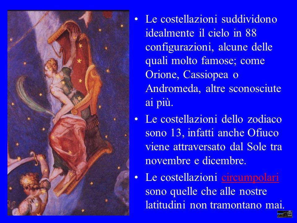 Le costellazioni suddividono idealmente il cielo in 88 configurazioni, alcune delle quali molto famose; come Orione, Cassiopea o Andromeda, altre sconosciute ai più.