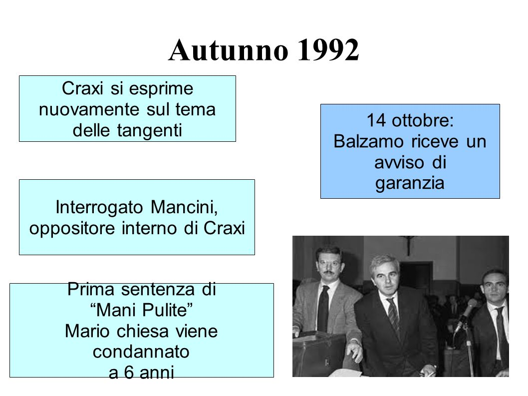 Autunno 1992 Craxi si esprime nuovamente sul tema delle tangenti