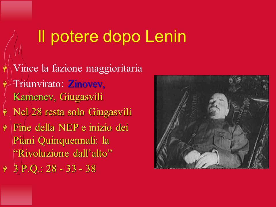 Il potere dopo Lenin Vince la fazione maggioritaria