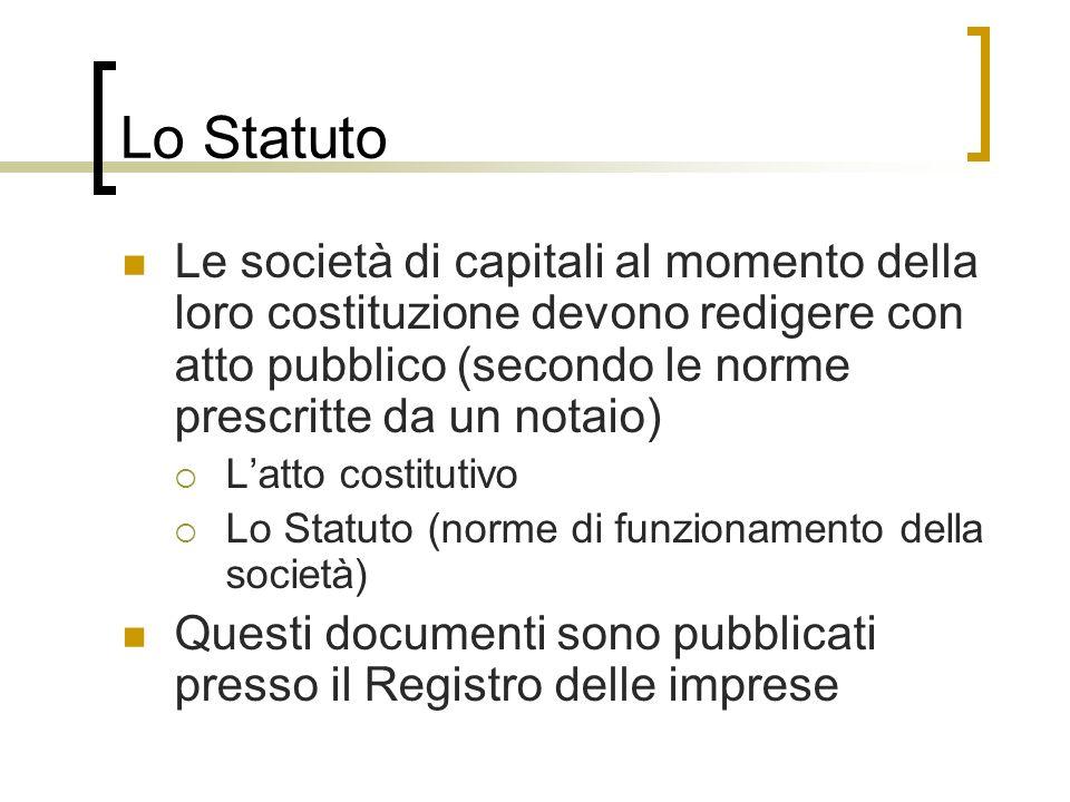 Lo Statuto Le società di capitali al momento della loro costituzione devono redigere con atto pubblico (secondo le norme prescritte da un notaio)