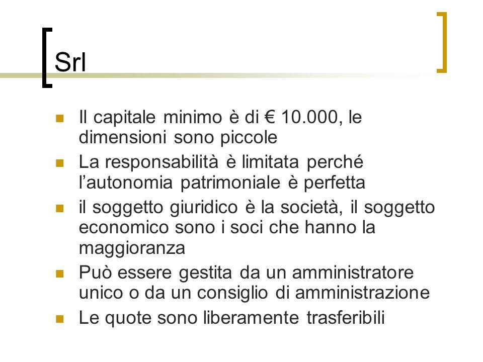 Srl Il capitale minimo è di € 10.000, le dimensioni sono piccole