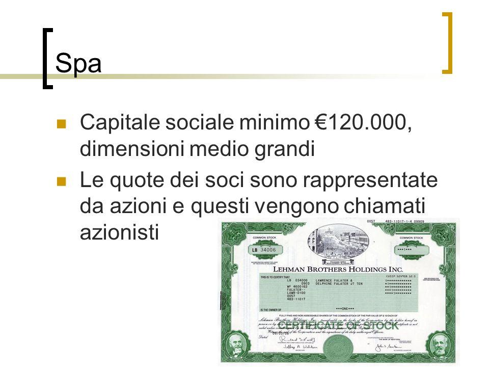 Spa Capitale sociale minimo €120.000, dimensioni medio grandi