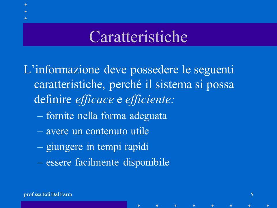 Caratteristiche L'informazione deve possedere le seguenti caratteristiche, perché il sistema si possa definire efficace e efficiente: