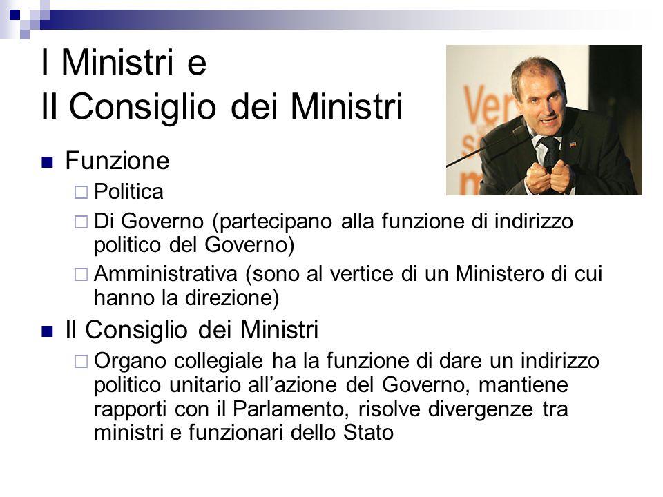 I Ministri e Il Consiglio dei Ministri