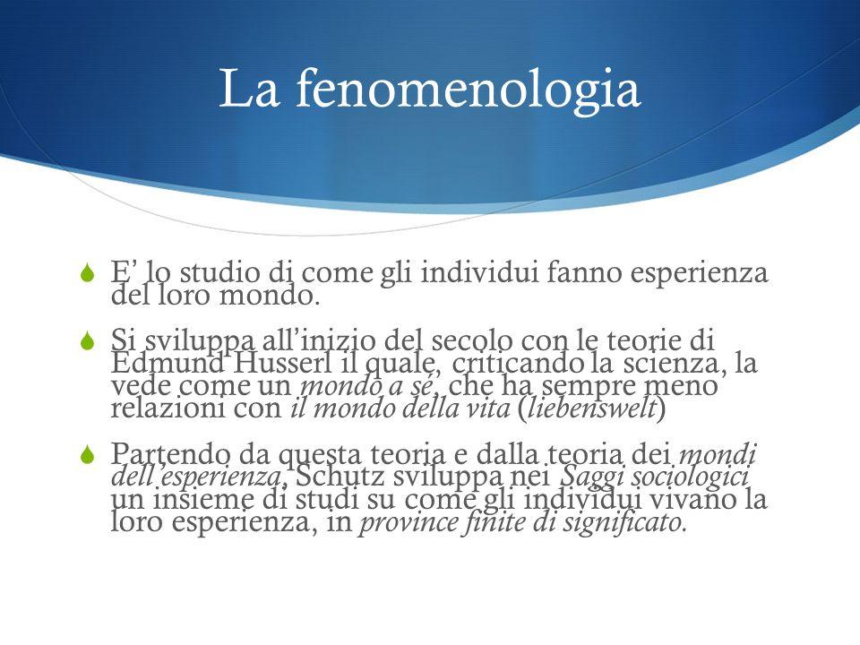 La fenomenologia E' lo studio di come gli individui fanno esperienza del loro mondo.
