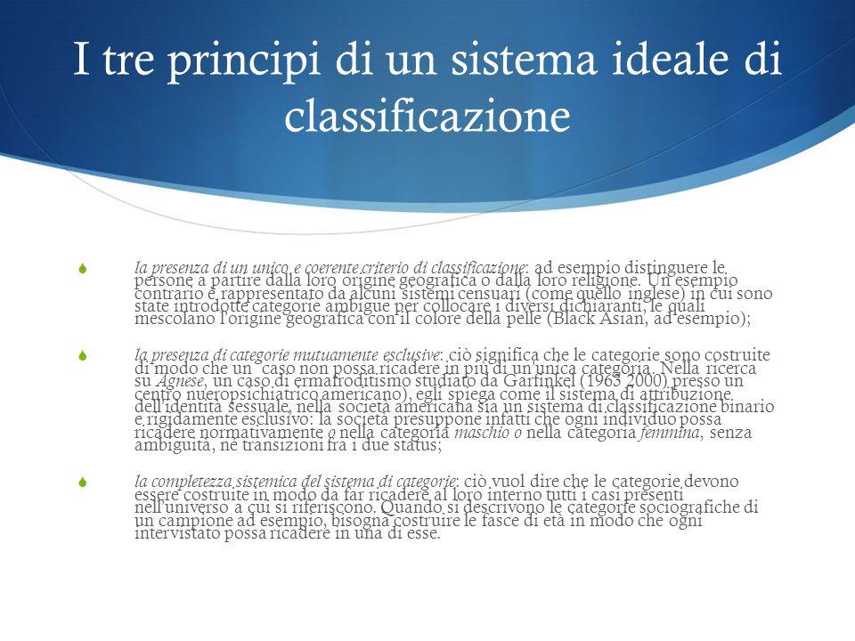 I tre principi di un sistema ideale di classificazione