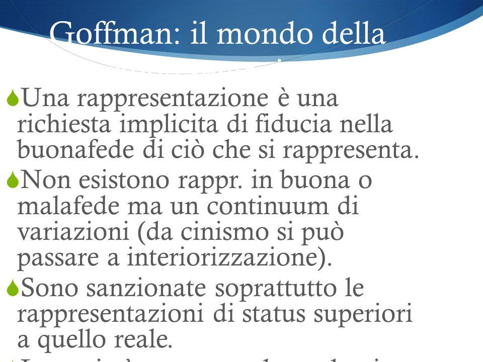 Goffman: il mondo della rappresentazione