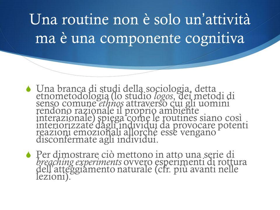 Una routine non è solo un'attività ma è una componente cognitiva