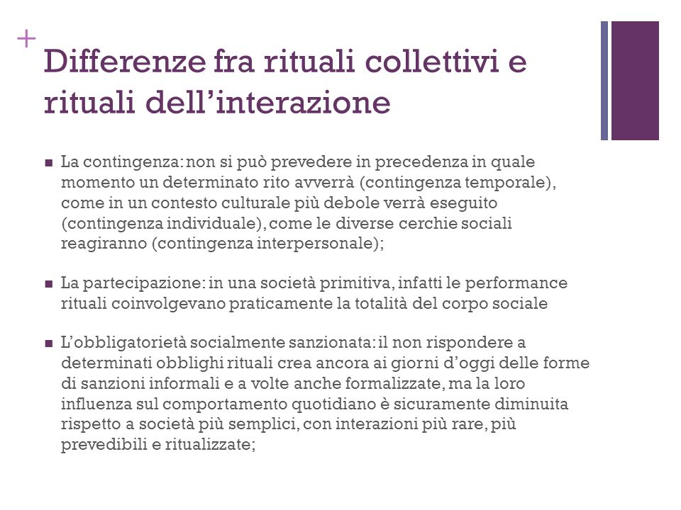 Differenze fra rituali collettivi e rituali dell'interazione