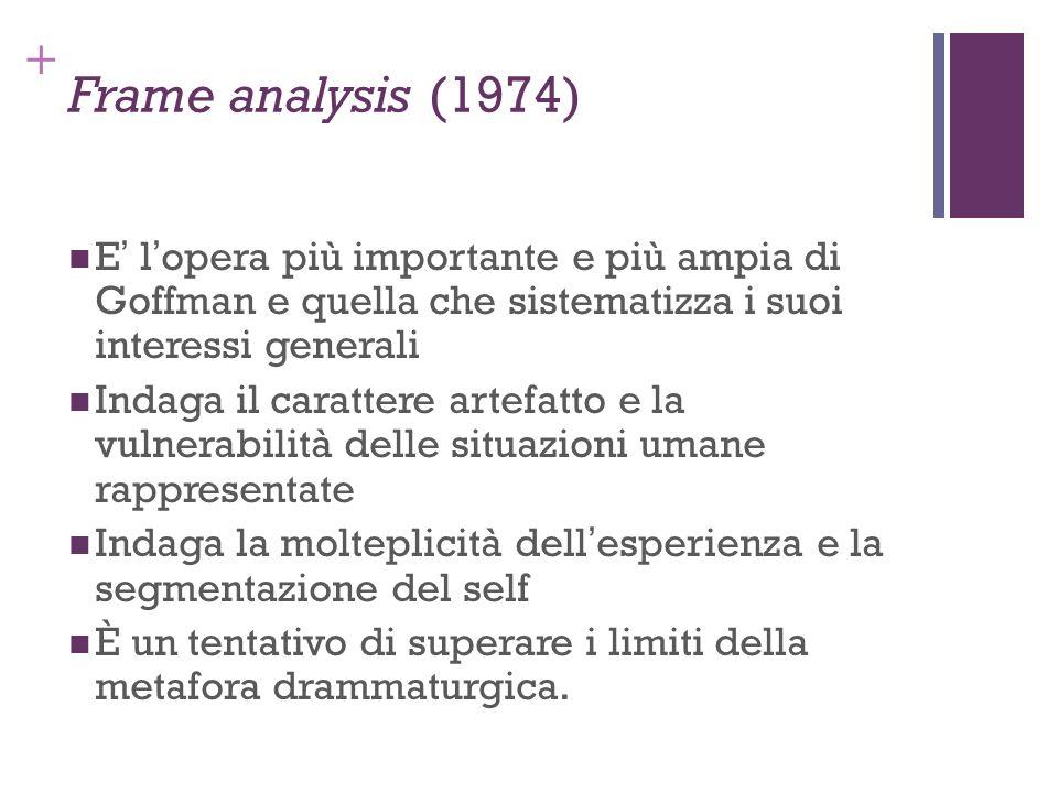 Frame analysis (1974)E' l'opera più importante e più ampia di Goffman e quella che sistematizza i suoi interessi generali.