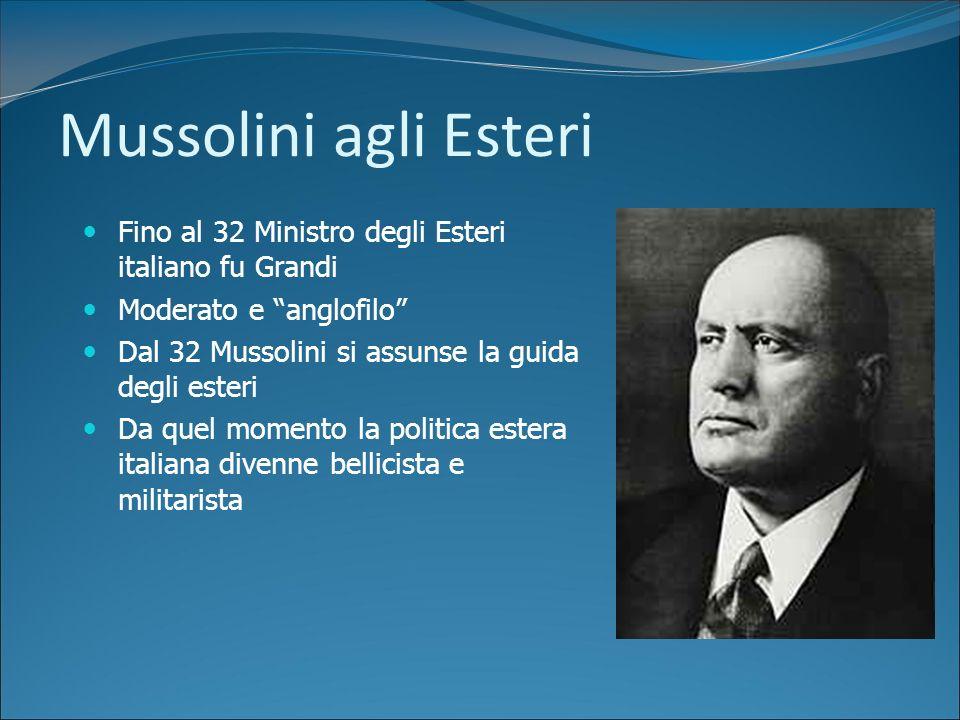 Mussolini agli Esteri Fino al 32 Ministro degli Esteri italiano fu Grandi. Moderato e anglofilo Dal 32 Mussolini si assunse la guida degli esteri.