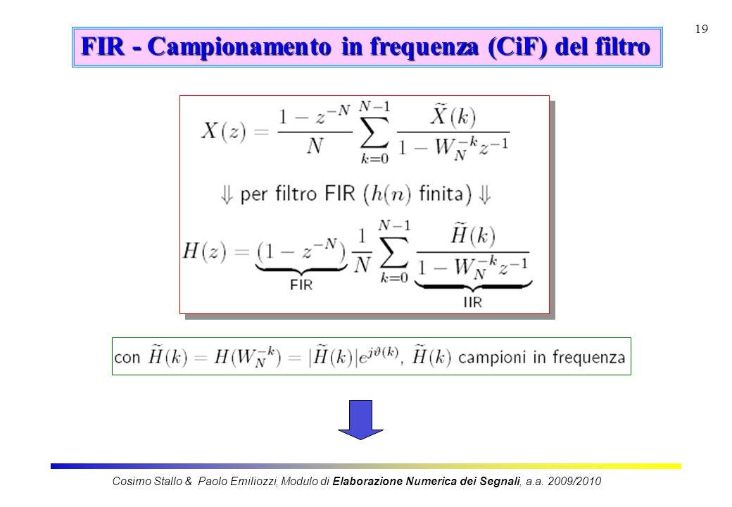 FIR - Campionamento in frequenza (CiF) del filtro